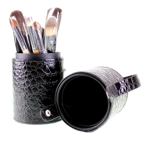 Pot Pinceaux De Luxe Croco Noir