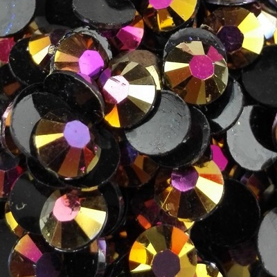 Strass 6mm - 1000 pièces - AB Black Gold Rose Magic
