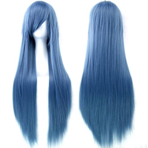 Perruque Bleue claire cheveux longs et raides