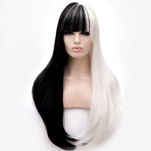 Perruque Blanche et Noire cheveux raides