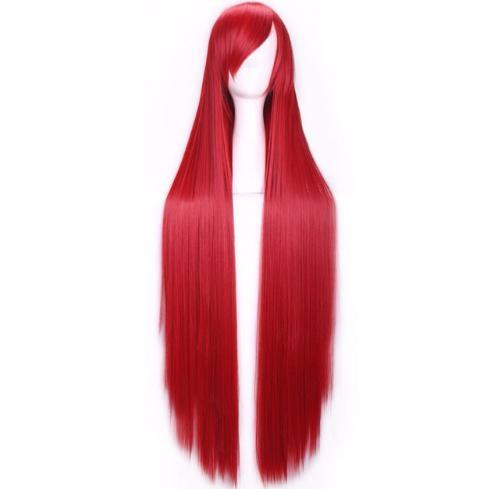 Perruque Rouge cheveux longs et raides 100 cm ce90266608bb