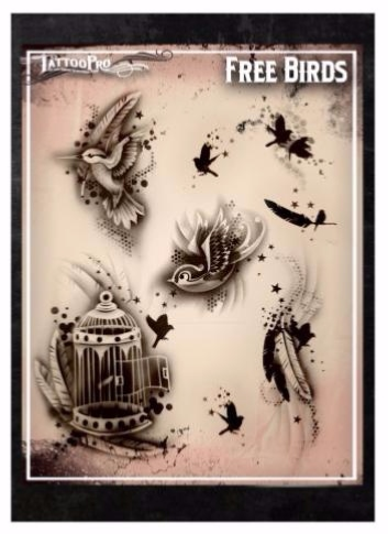 Pochoir Tatoo Pro - Stencil Free Birds Oiseaux