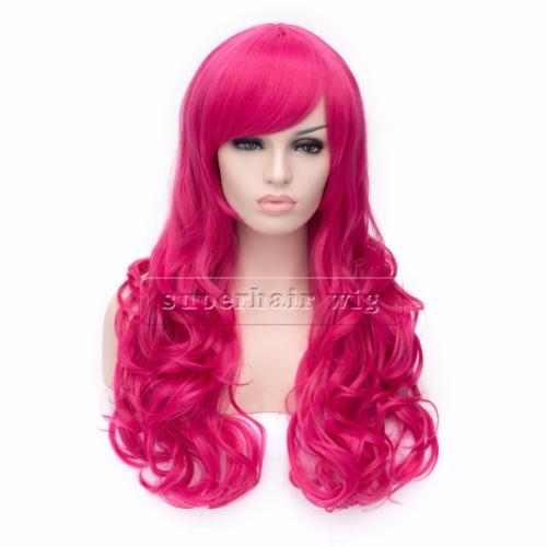 Perruque Rose cheveux longs et bouclés Haut