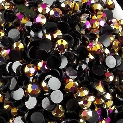 Strass 3mm - 10 000 pièces - AB Black Gold Rose Magic