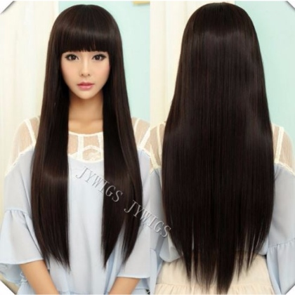 Perruque Brun Naturel cheveux longs et raides 70 cm