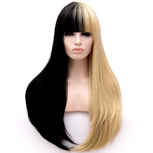 Perruque Blonde et Noire cheveux raides +