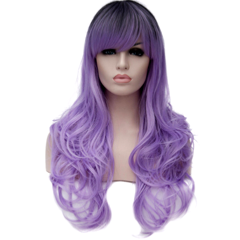 Perruque Violet dégradé Gris cheveux longs