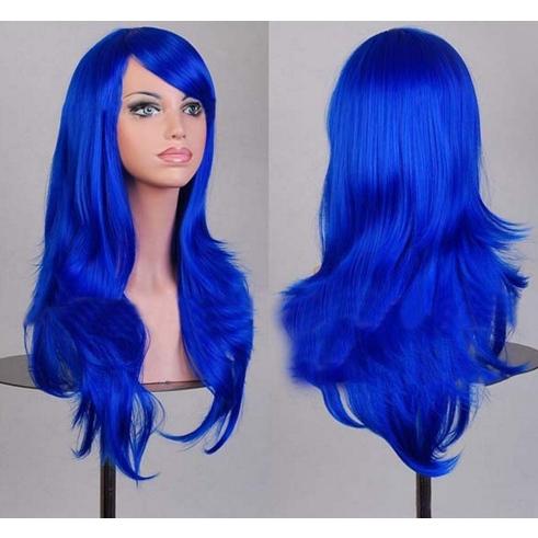 Perruque Bleue cheveux mi-longs 70 cm