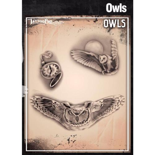 Pochoir Tattoo Pro - Stencils Owls Hiboux