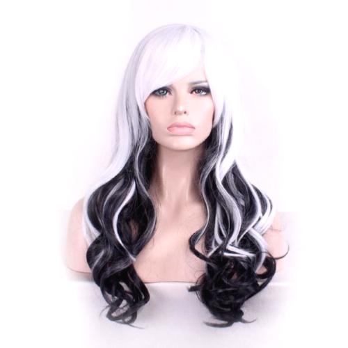 Perruque Blanche et Noire cheveux bouclés
