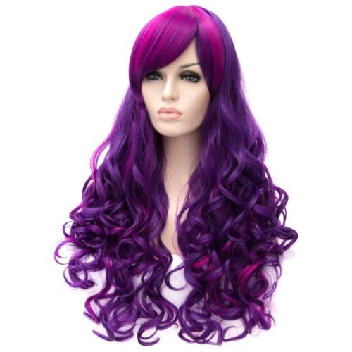 Perruque Violette et Rose cheveux longs et
