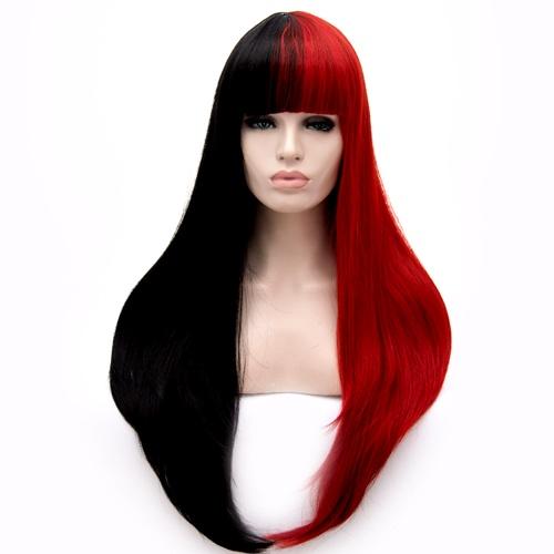 Perruque Noire et Rouge cheveux raides +