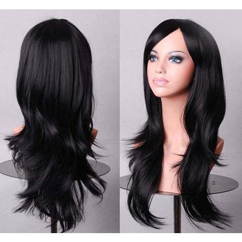 Perruque Noire Naturelle cheveux longs et
